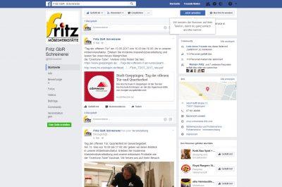 Screenshot der Facebook Seite der Schreinerei Fritz in Göppingen.